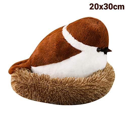 Daxoon Spatz Plüschtier Simulations Vogel Spatzen Puppe mit flaumigem Nest Für Kinder Baby Spielzeug