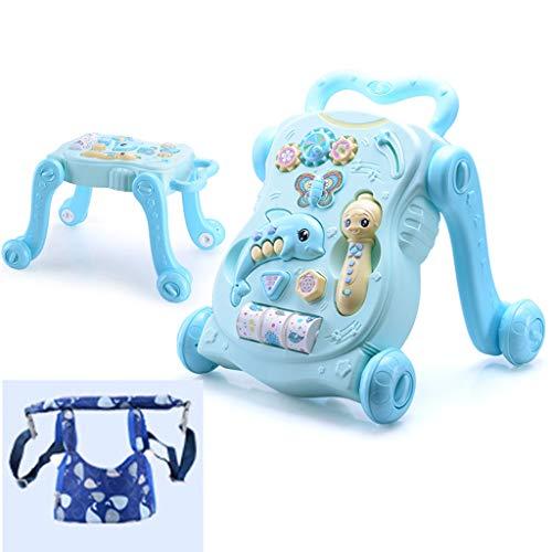 Baby Walker Trolley Anti-Rollover Baby Learning Marcheur Marcheur 6-18 Mois Conducteur en Bas Âge Jouet Voiture FANJIANI (Couleur : Blue+Anti-Drop Belt)