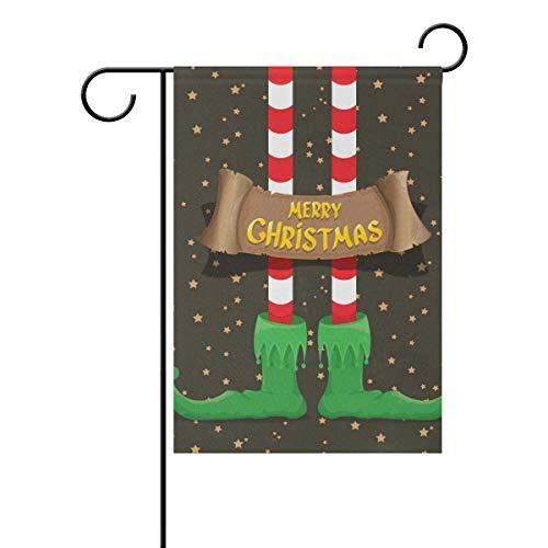 Jessgirl Motif de Noël Golden Star Elf Pieds 12x18 Pouce Vertical Double Face Premium Jardin Drapeaux Cour Extérieure Décorative Saison