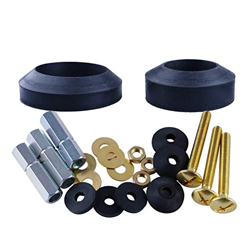 Universal Toilet Tank To Bowl Gaskets with 3 Sets Brass Hardware Kits Fits Most 2-Inch 2.5-Inch flush valve opening 2-Piece Toilet Tanks