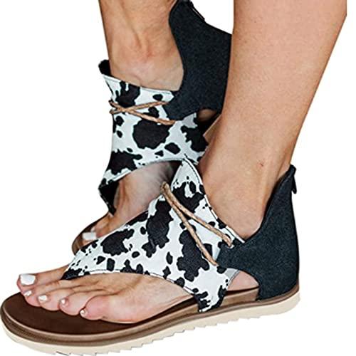 GHMPNLG Sandalias para Mujer, Sandalias Planas de Moda, Sandalias de Gladiador Planas, Sandalias a Prueba de Agua Tipo de Clima, Buenas para la Calle, Compras, Citas, Vacaciones o