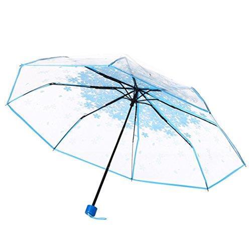 Taschenschirm Transparent, Regenschirm Durchsichtig, Sakura 3 Falten Regenschirm Transparenter Schirm, Stabil, Faltbar für Reisen und Outdoor (Blau)