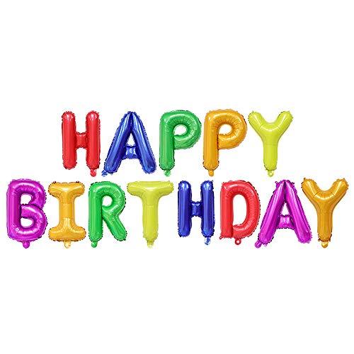 Ponmoo Folienluftballons Dekoration Birthday Party Bunt,Happy Birthday Luftballons Bunt Geburtstag Folienballon Happy Birthday Bunt