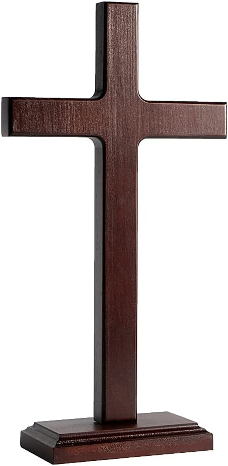 KUXBET Wooden Wall Cross Hanging or Standing Jesus Christ Catholic Wall Cross for Home Decor - 12.5 Inch