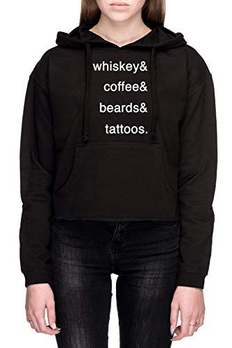 Rundi Passions Unisex Sweatshirt Kapuzenpullover Schwarz Größe XS - Women's Crop Sweatshirt Hoodie Black