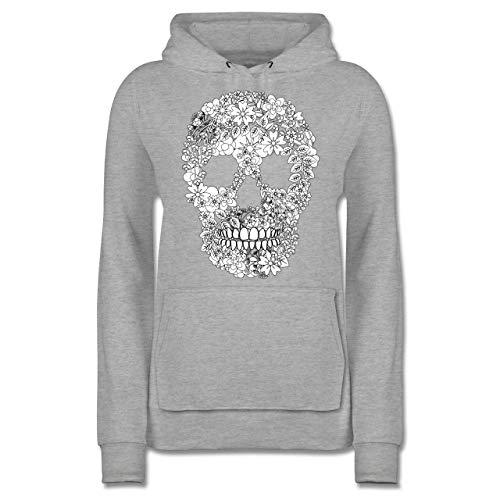 Rockabilly - Totenkopf Blumen Skull Flowers - M - Grau meliert - Sweatjacke Totenkopf - JH001F - Damen Hoodie und Kapuzenpullover für Frauen