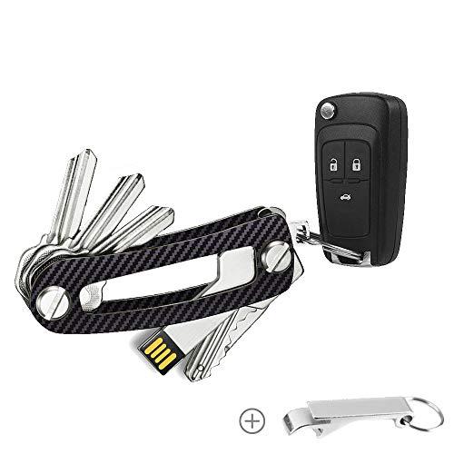 BOYATONG Key Organizer Carbon, Schlüsselorganizer Schwarz für Damen und Herren, Schlüssel Organizer in Grau, Hochwertig verarbeiteter Schlüsselanhänger, Korkenzieher enthalten