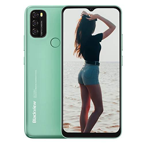 Blackview A70 Smartphone ohne Vertrag Günstig, 6,5 Zoll HD+ Display 5380mAh Akku, 13MP+5MP Dual Kamera, 3GB + 32GB ROM, Android 11 Dual SIM Android Einsteiger Handy - Grün