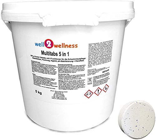 well2wellness Pool Multitabs 5 in 1 200g mit 5 Funktionen für die perfekte Poolpflege 5,0 kg