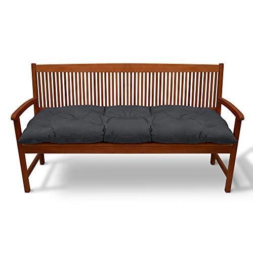 Beautissu Coussin pour Banc de Jardin Flair BK terrasse, Balcon - balancelle - Banquette - Assise Confortable - 150x50x10cm - Graphite Gris