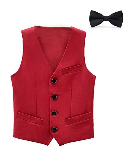 CYSTYLE Kinder Jungen Anzugweste Festlich Smoking Weste Geburtstag Karneval Fasching Weihnachten Party Kleidung (Rot, 120/Körpergröße 110 cm)