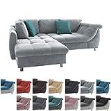 lifestyle4living Ecksofa mit Schlaffunktion in Grau mit großen Rücken-Kissen und Zierkissen, Microfaser-Stoff   Gemütliches L-Sofa mit Longchair im modernen Look