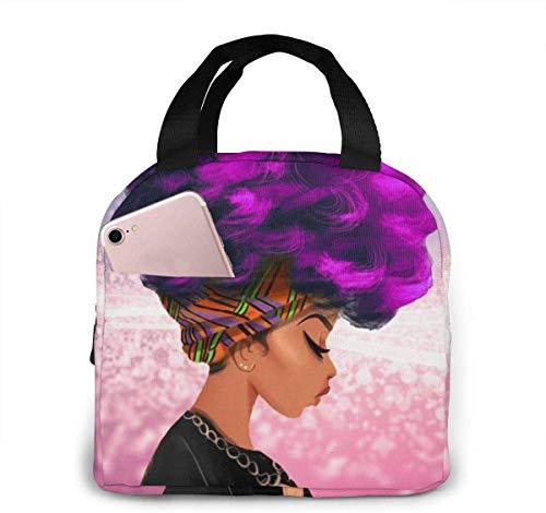 Bolsa de almuerzo para mujer africana de color púrpura para mujeres,niñas,niños,bolsa de picnic aislada,bolsa gourmet,bolsa cálida para el trabajo escolar,oficina,camping,viajes,pesca