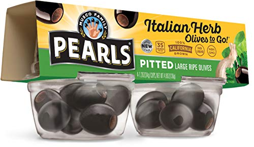Pearls Olives To Go!, Italian herb Cup Infused Large Ripe Black Olives, 1.4 oz, 24-Cups