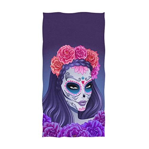 ZXYAIAN Beautiful Day of The Dead Sugar Skull Girl - Toallas de mano decorativas para el hogar (40,6 x 76,2 cm), color violeta