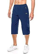 EKLENTSON - Pantalones cortos para hombre, 3/4, estilo casual, ligero, para correr y correr con bolsillos con cremallera