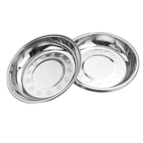 Gitany 6 Sets Round Dinner Plate Dish Food Holder Plates, Stainless Steel Serving Dish Plate