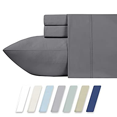 600 Thread Count Best Bed Sheets 100% Cotton Sheets Set – Dark Grey Long-staple Cotton Queen Sheet For Bed, Fits Mattress Upto 18'' Deep Pocket Soft & Silky Sateen Weave 4 Piece Sheets and Pillowcases