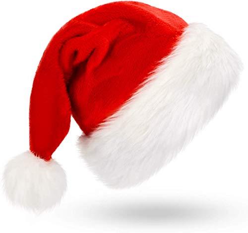Kerstmuts, Kerstmuts, Kerstmis Hoed voor volwassenen, Unisex Fluwelen Comfort Kerstmutsen Extra Dikke Klassieke Bont voor Kerstmis Nieuwjaar Feestelijke Feestfeest Supplie Volwassenen en Kinderen