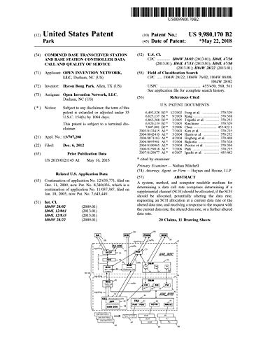 Combined base transceiver station and base station controller data call and quality of service: United States Patent 9980170 (English Edition)