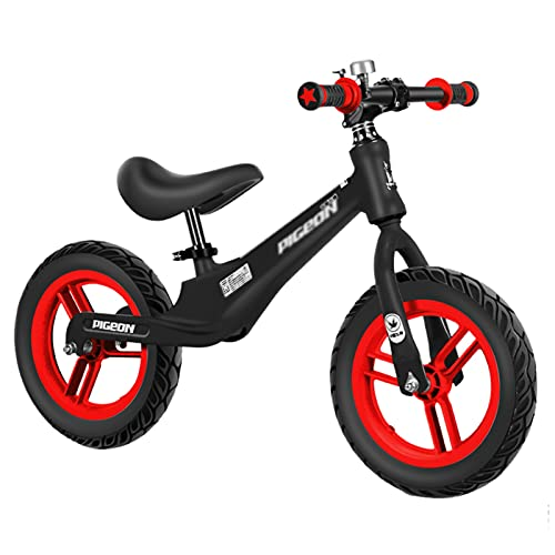 Bicicletas sin Pedales Bicicleta de Equilibrio Para Niños (Altura 90-120cm), Bicicleta Sin Pedales con Neumáticos de Aire de 12 Pulgadas y Asiento Ajustable, Marco de Aleación Ligera ( Color : Black )