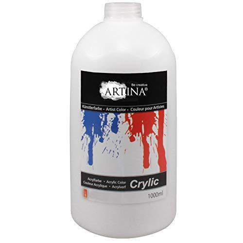 Artina Crylic Acrylfarben - hochwertige Künstler Malfarbe in 1000 ml Flaschen in Titanweiss - hohe Deckkraft, Farbkraft und Lichtechtheit