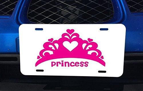 Princess Crown Hot Pink Max 58% OFF Tiara 1 year warranty Aluminum Plate Car for Tru License