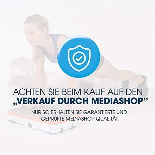 MediaShop VibroShaper – Fitness Vibrationsplatte unterstützt bei Muskelaufbau und Fettverbrennung – Vibrationstrainer für alle Muskelgruppen – inklusive Fitnessbänder – orange - 4