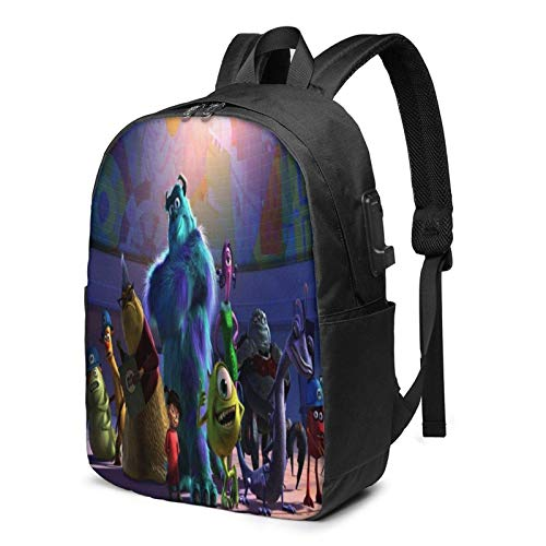 Aeenohik Monsters, Inc Laptop Backpack with USB Charging Port Headphone,Large Capacity Business Commute Backpack,College Women Men Backpack Travel Bag 17 Inch