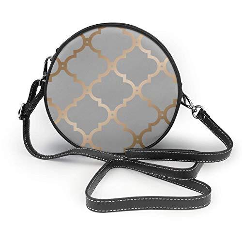 DJNGN Cartera redonda bandolera Marruecos gris bolsos de hombro círculo bandolera bolso de mano para mujer