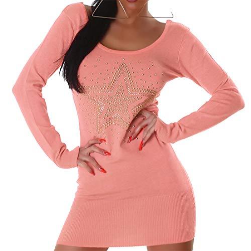 JELA London Sexy Damen Pullover Kleid Damen Pullover Casual Sweater Einheitsgröße 36, 38, 40, 42 EU Gr. One size, lachsfarben