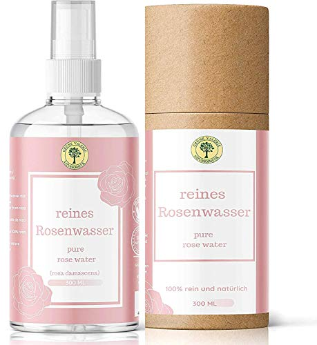 TestSieger! Grüne Valerie Reines Damaszener Rosenwasser Spray 300 ML ohne Alkohol & Konservierungsstoffe Grade A + 100% Naturreine Lebensmittelqualität