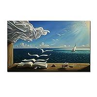 キャンバスに印刷波の本ヨットキャンバス絵画風景ポスターとプリント壁アート写真リビングルーム家の装飾60x80cmフレームなし
