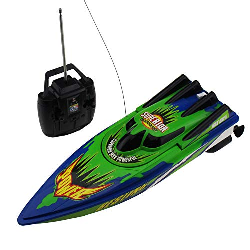 Tipmant Large Size 4 CH RC Speed Racing Boat Radio Remote Control Ships Speedboat Kids Water Toy (Green)