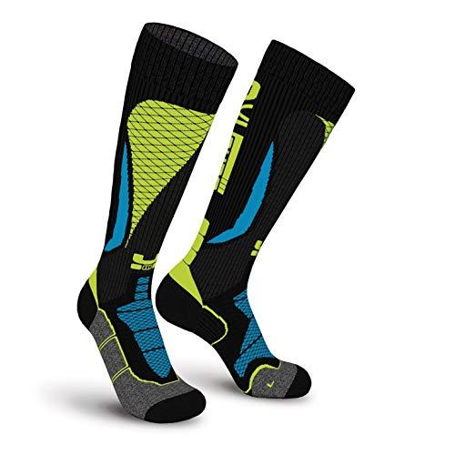 Oxyburn Ski Stayout Kneehigh Energizer Chaussettes Homme, Black/Vision/Malibu, Size 42/44