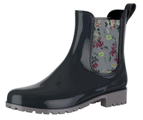 Brandsseller Damen Kurzschaft Gummi Stiefelette Flower Chelsea Boots Gummistiefel Blockabsatz Profilsohle Made in Italy Farbe: Grau - Größe: 37