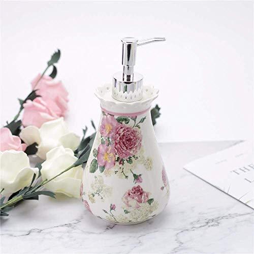 ZLXLX lotion fles vloeibare zeepbak, wit keramiek schilderij rode bloemen zeepdispenser, handgemaakte retro Oosterse desinfectiefles voor de keuken badkamer, 560 ml