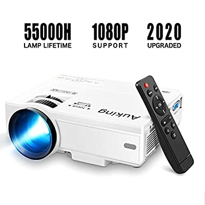 Mini Projector 2020 Upgraded Portable Video-Projector,55000 Hours Multimedia Home Theater Movie Projector,Compatible with Full HD 1080P HDMI,VGA,USB,AV,Laptop,Smartphone