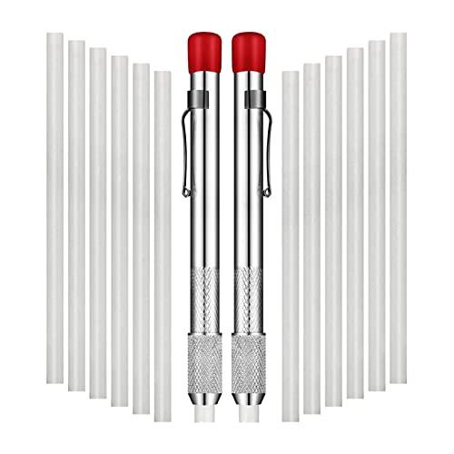 ZRNG 2 PCS Soportes de Soapstone Redondo Soapstone Marker Soapstone Pen con 12 Unidades Recargas para Herramientas de Soldadura y marcadores extraíbles (Color : Silver)