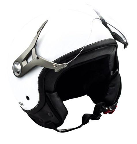 "SOXON® SP-325 Mono ""Snow"" · Jet-Helm · Motorrad-Helm Roller-Helm Scooter-Helm Moped Mofa-Helm Chopper Retro Vespa Vintage Pilot Biker Helmet · ECE 22.05 Visier Schnellverschluss Tasche S (55-56cm)"