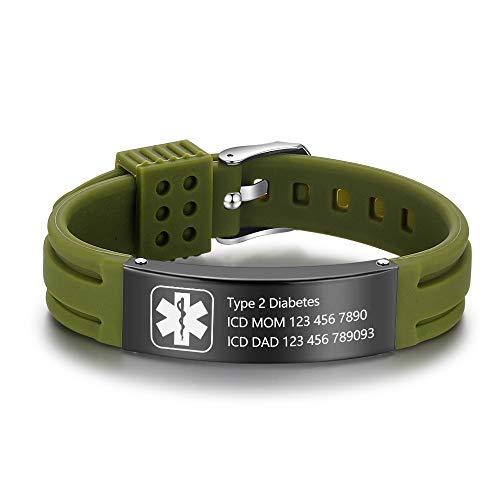 Personalisierte Armband Silikon Medizinische Armbänder Einstellbare Sport Notfall ID Armbänder Kostenlose Gravur 9 Zoll Wasserdichte ID Alarm Armbänder für Männer Frauen Mädchen (Green)