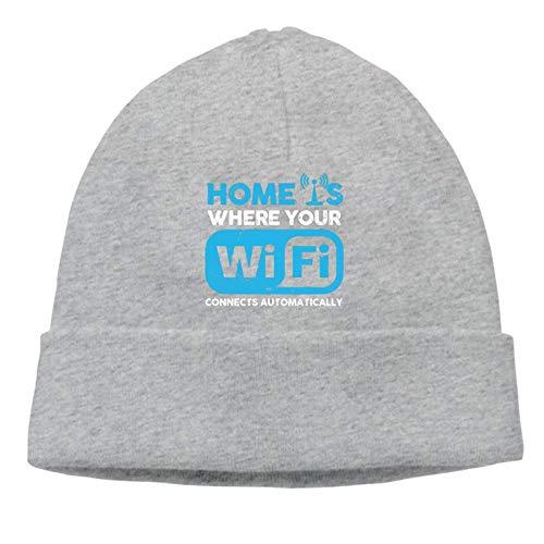 Lsjuee Home es donde el WiFi conecta el gorro de punto unisex