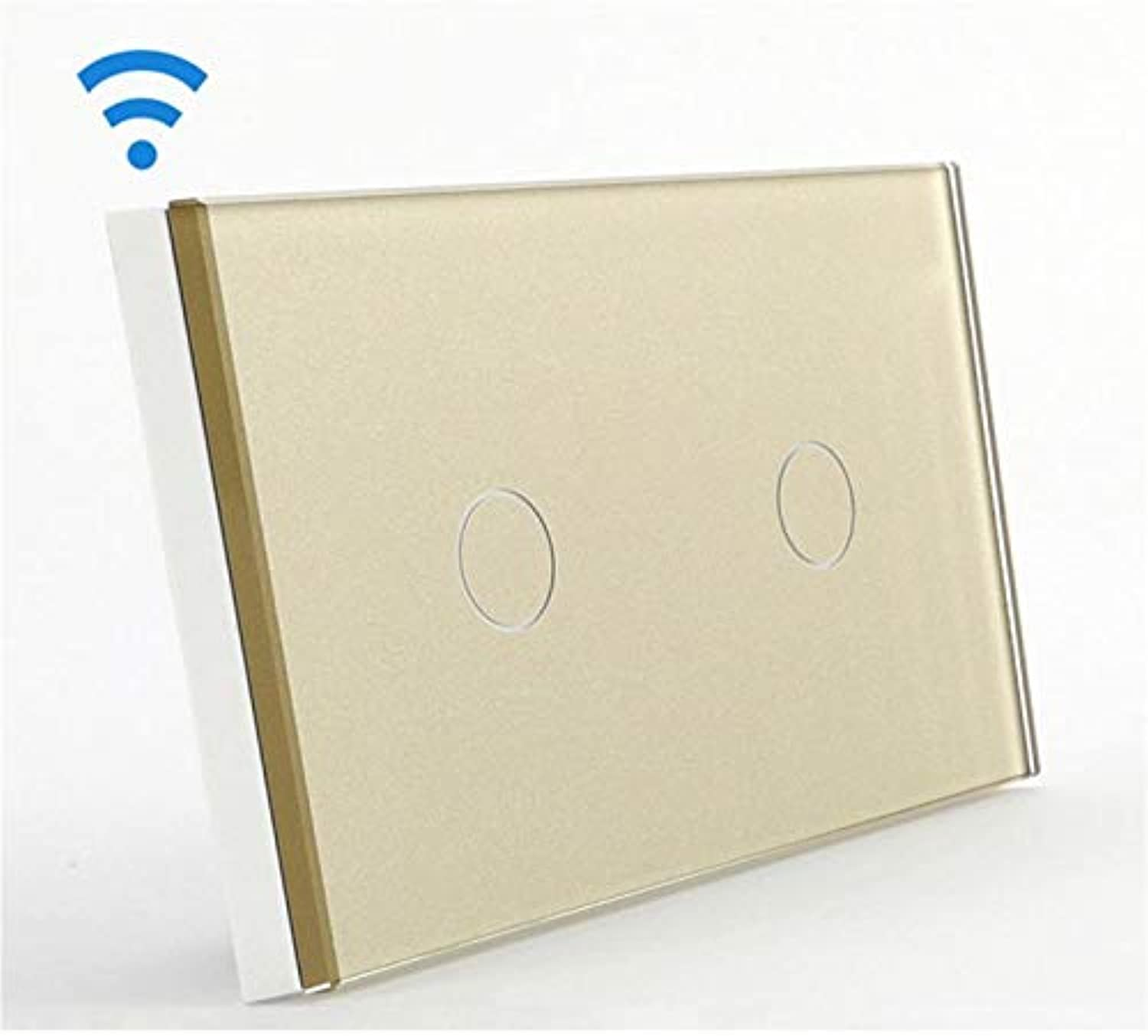 Bseed 240v Touch Light Switch 2 Gang 1 Way Remote Touch Switch with Remote Control gold Remote Switch Us Au
