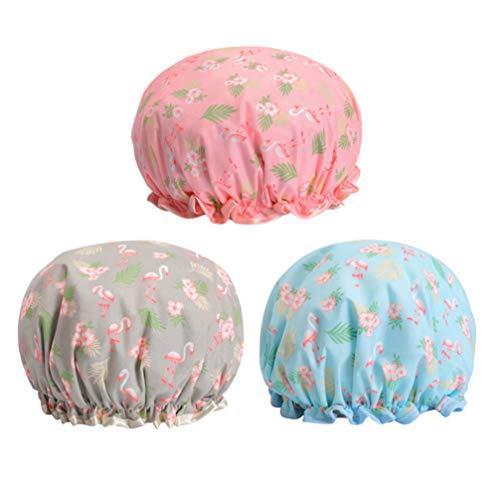 None 3 stuks badmutsen Adorable Flamingo bedrukte badmutsen waterdicht herbruikbaar elastisch voor alle haarlengtes vrouwen mannen (roze/grijs/blauw)