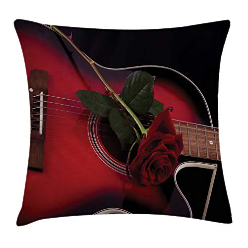 Fundas para Cojines Músico español Portugal Guitarra Hecha a Mano con Tema romántico Love Rose Funda de cojín con impresión clásica de algodón Suave poliéster 45*45cm