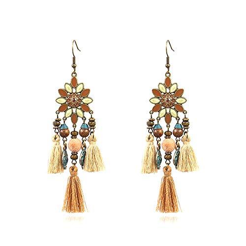 Pendientes largos de macramé bohemios con forma de gota bohemia, estilo exótico, borla hecha a mano, superligera, de colores, cuentas de madera, para niñas y mujeres, joyería de moda