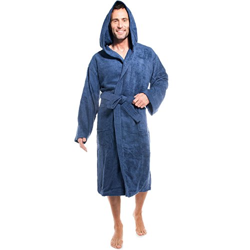 aqua-textil Föhr Bademantel mit Kapuze blau L Baumwolle Morgenmantel Damen Herren Saunamantel Frottee Mantel
