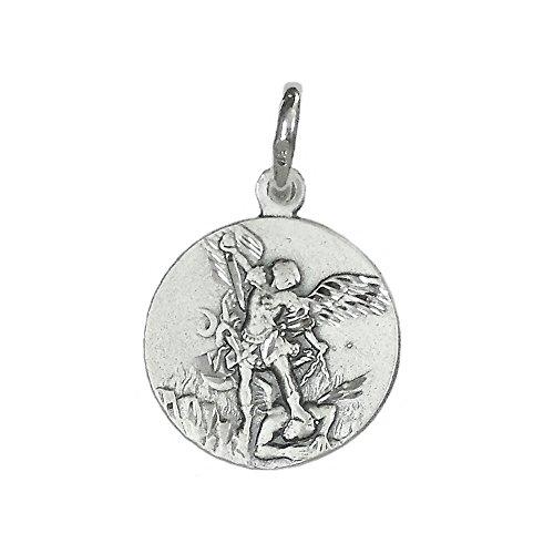 Medalla Colgante Plata Ley 925M San Miguel 18mm. Redonda Tallada