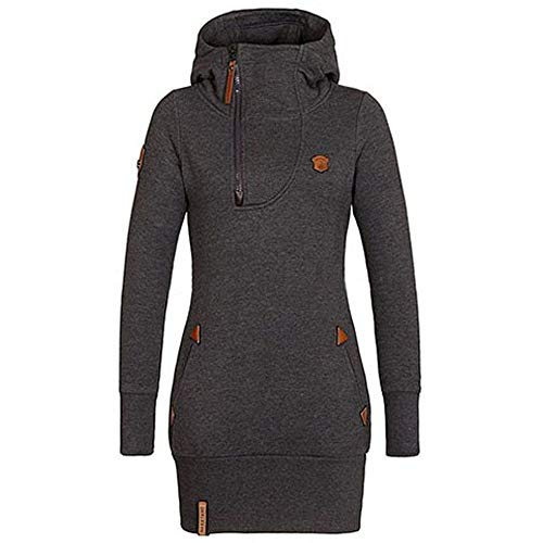 TOPKEAL Taschenreißverschluss Hoodie Lange Ärmel Pullover Damen Herbst Winter Kapuzenpullover Sweatshirt Winterpullover Jacke Mantel Tops