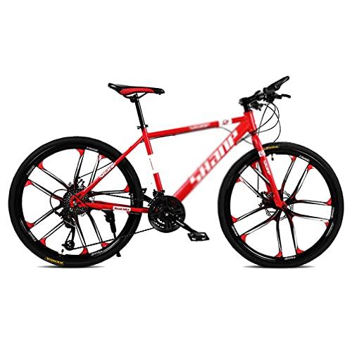 WANYE Mountain Bike per Adulti 26'' Bicicletta, Biciclette Biammortizzate - MTB, Professionali 21/24/27/30-Velocità, Vari Colori red-24speed